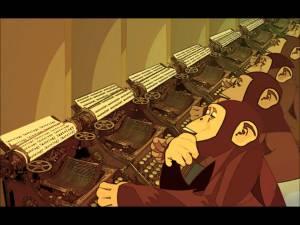 monos máquina de escribir
