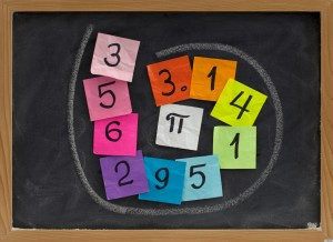 first ten digits of the number pi handwritten on colorful sticky notes and posted on a blackboard